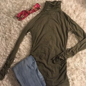 olive green cinched turtleneck NWOT